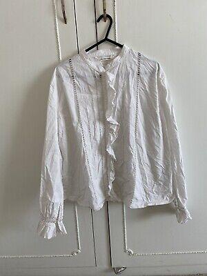 Isabel Marant White Cotton Ruffle Blouse Shirt Top Size 38