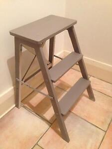 Handy Compact 3-Step Grey Wooden Ladder Coogee Eastern Suburbs Preview