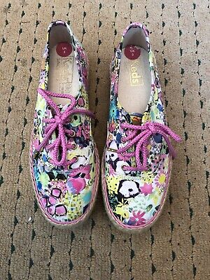 KEDS pretty Floral Lace Up Pink Shoes  Size Uk 3 Brand New