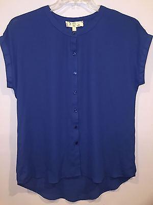 Hippie Rose Shirt Top L XL Royal Blue Cap Sleeve NWT MSRP: (Rose Top Cap)