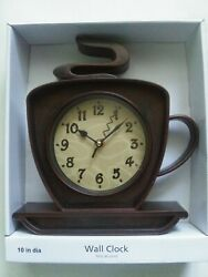 Coffee Cafe Latte Cup and Saucer Kitchen Wall Clock 10 Brown Battery Operated