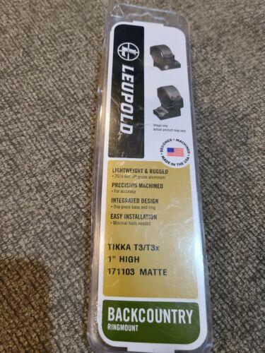 "TIKKA T3 T3X HIGH 2-Pc Scope mount Matte Black Leupold 171103 Backcountry 1/"""