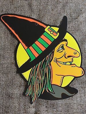 Vintage Style Beistle 2 Sided Cutout Witch In Front Of Moon Halloween Decoration](Halloween Decoration Cutouts)