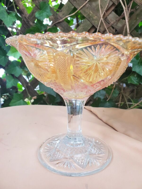 Vintage Peach Iridescent Carnival Star and File Footed Compote