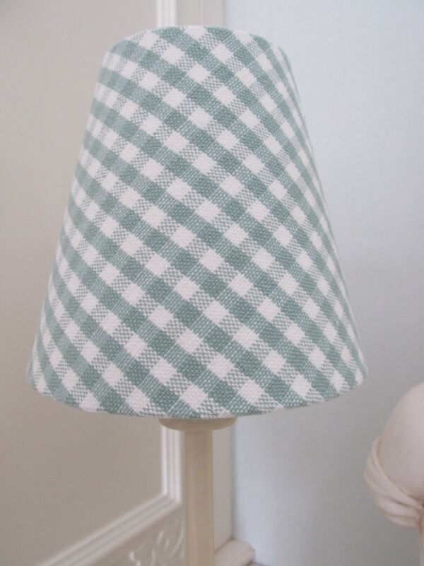 Handmade+Candle+Clip+Lampshade+Susie+Watson+Gingham+Check+fabric+duck+egg+blue