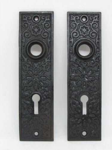"""(2) Antique EASTLAKE Cast Iron Door BACKPLATES 5.5"""" x 1.5"""""""