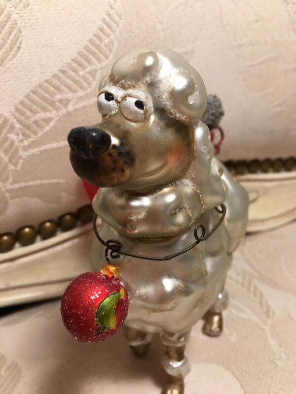 Christmas Glass Ornament French Poodle With Attitude