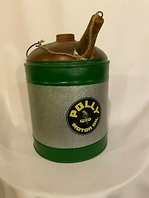 Vintage POLY GAS 1 GALLON MOTOR OIL CAN Filler spout handle Service station -