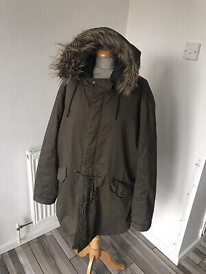 Admiral Fishtail Padded Parka Coat  Size XL Chest 48 Green Khaki