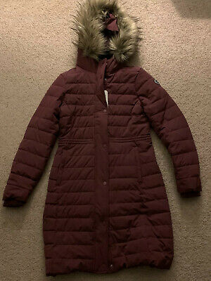 Abercrombie & Fitch Women's Long Slim-Fit Puffer Coat. Sz Medium $220 Burgandy