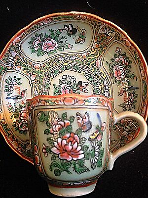 Chinese Famille Verte Celadon Butterfly. Birds  Flowers Tea Demitaase Cup Saucer