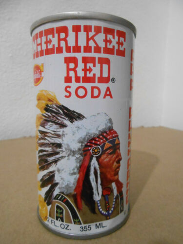 VINTAGE CHERIKEE RED COLA 12OZ PULL TAB SODA CAN INDIAN CHIEF HEAD CLEVELAND OH
