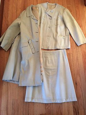 Vtg 1960s Leather 3 Piece Suit - Coat, Jacket, & Skirt Set Light Gray Details Lg