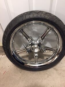 Chrome vrod front wheel and tire