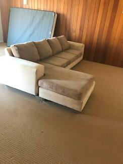 Beautiful L shaped couch, Queen Bed frame and 2 night stands