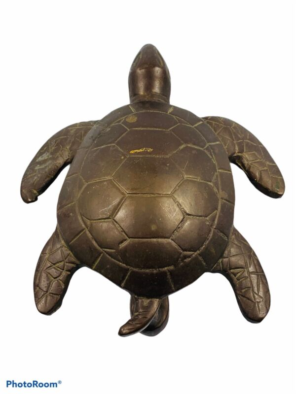 """🔥 7"""" Solid Brass Sea Turtle • Door Knocker • Aged To Perfection • Nice"""