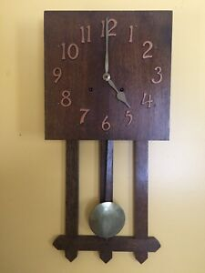 Vintage Wall Clock - Arts & Crafts Mission Oak Complete with Key