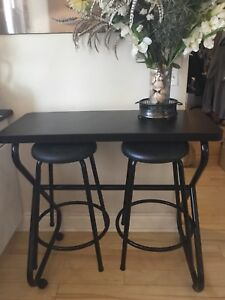 Rare Black Table And Two Stools Kitchen Nook