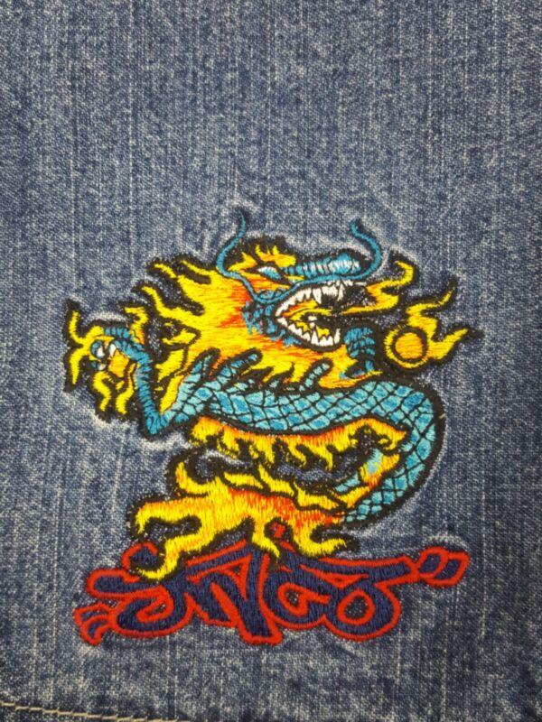 rare vintage 90s Jnco Jeans Blue Dragon Jean Shorts Size 18 juniors