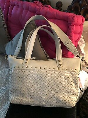 FOSSIL Leather Long Live Vintage Purse Taupe Double Handles/Thick Zippers/Studs!