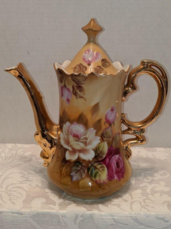 """Vintage Lefton China Brown Heritage Hand Painted Coffee/Tea Pot NE 1866 9"""""""