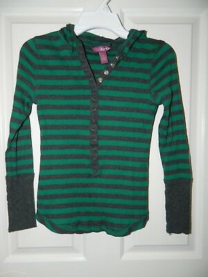 EPIC THREADS girls Green Gray HOODED Ribbed Long Sleeve TOP* L Large