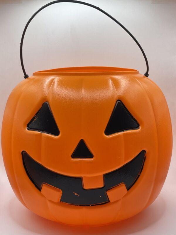 Vtg General Foam Plastics Blow Mold Pumpkin Halloween Bucket  Norfolk VA USA