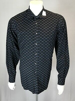 Men's IKE Behar NY Large Black Shirt Blue Rectangles Mother Of Pearl Buttons L/S - Eisenhower Mother Of Pearl