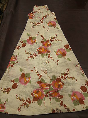 TRUE Vintage 60s 70s Maxi Dress Floral Kahili Fashions Ivory Pink Brown Hawaii