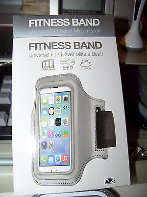 FITNESS BAND Universal Fit  (SILVER) for iPhone 5S, 5C, 5,4S, 4 AND IPOD TOUCH