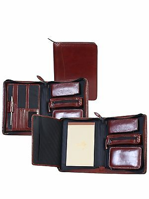 New Scully Leather Zip Business Travel Organizer With Writing Pad Pen Mahogany