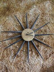 VTG SPARTUS MID CENTURY MODERN STARBURST SUNBURST ATOMIC WALL CLOCK