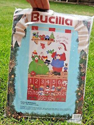 Bucilla SANTA'S WORKSHOP Felt Applique Christmas Advent Calendar Kit 82852 NEW