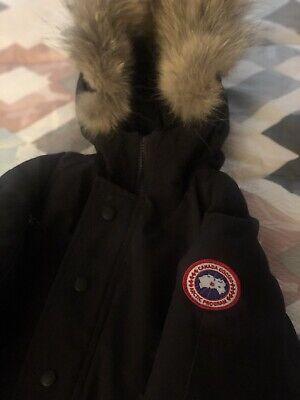 CANADA GOOSE Kids Small Black Winter Jacket 7-8 Fur Trim Hood