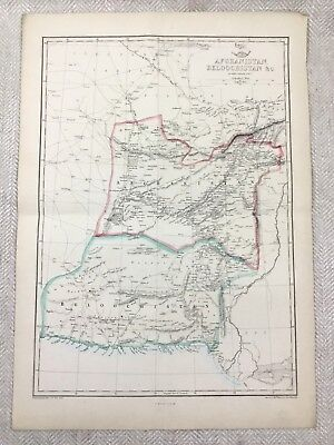 Antique Map of Afghanistan Balochistan Old Hand Coloured 19th Century Original