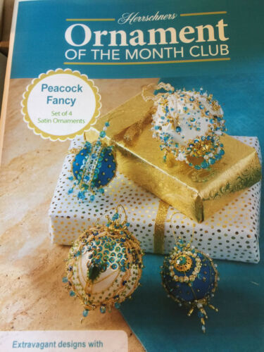 Herrschners Christmas Ornament of the Month Kit OOP Peacock Fancy Set of 4