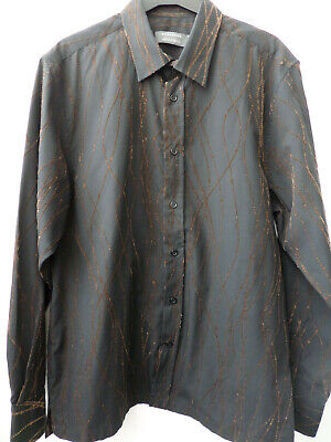 Armando Men's Brown Velvet Vintage Long Sleeve Shirt Size M