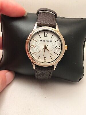 WOMEN'S ANNE KLEIN ANALOG FASHION WATCH BROWN LEATHER STRAP TWO TONE AK-2368-H74
