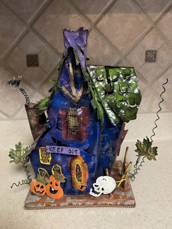 Halloween Metal Haunted House Tea Light Candle Holder~Colorful Sparkles