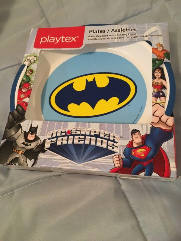 Playtex Mealtime Baby Toddler Plates 2-pack Batman Superman DC Super Friends
