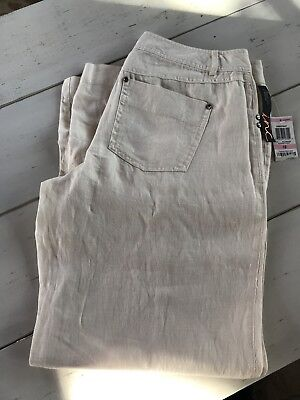 NWT Womens INC Natural Linen Pants Wide Leg Size 10 Curvy