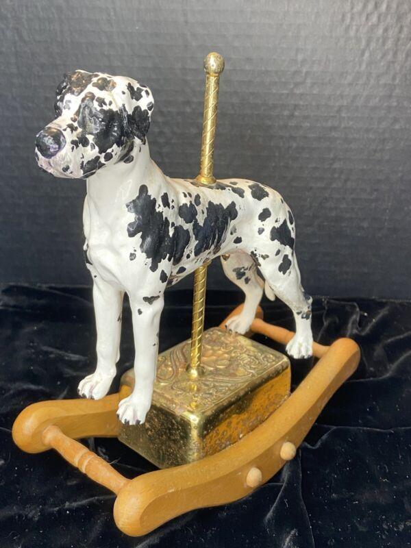 VINTAGE LARGE HARLEQUIN GREAT DANE DOG ROCKING MUSICAL CAROUSEL