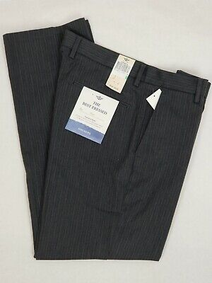 Dockers Mens The Best Pressed Slim Fit Flat Front Stretch Pinstripe Pants
