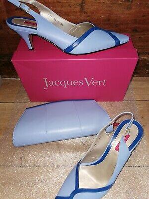 LOVELY JACQUES VERT ICE BLUE  SHOES SZ 6 - 39 EU & MATCHING CLUTCH BAG  NEW