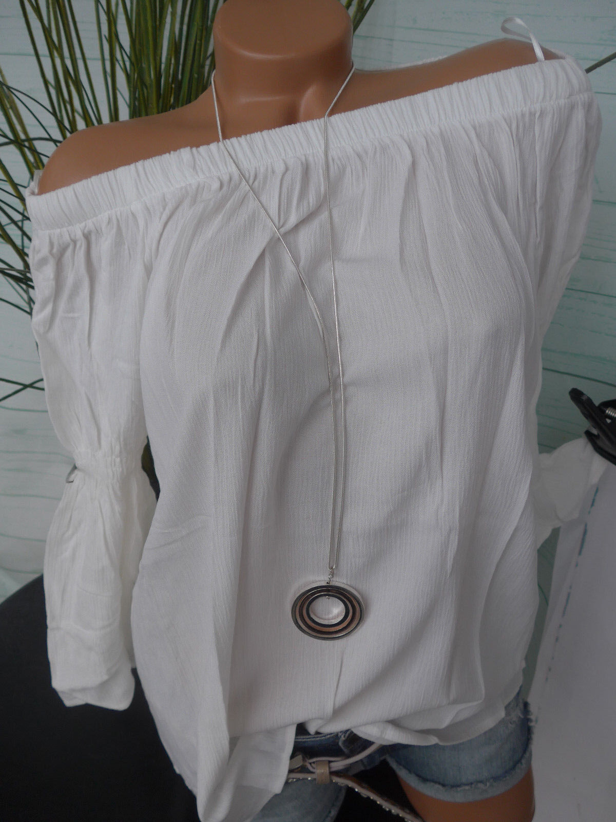 Amy Vermont Shirt Bluse Damen Gr. 36 bis 48 weiß Carmen Ausschnitt (030) NEU