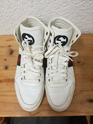 Gucci White Hi Top Trainers 8.5