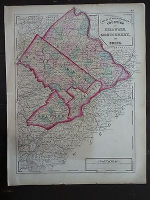 1872 Hand-Colored Map of PA/Counties of Delaware, Montgomery & Bucks ()