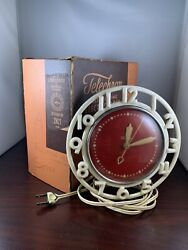 Vintage Mid-Century Telechron model 2H21 Electric Wall Clock - Working!
