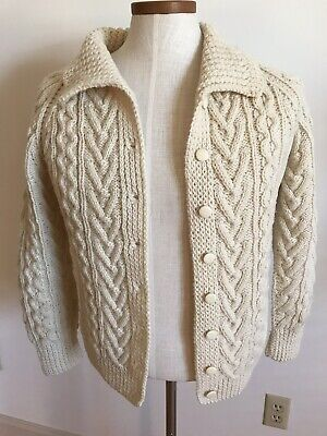 Ireland Cardigan Sweater Mens 38 Ivory Cable Knit 100% PureWool St Crone Ireland