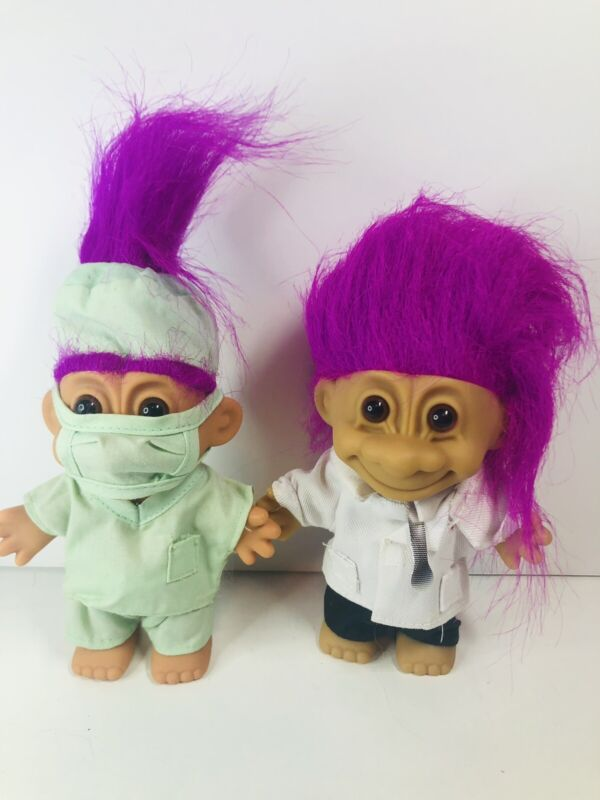 """5"""" 90s Russ Troll Doctor With Scrubs mask & Dr w/coat & stethoscope purple"""